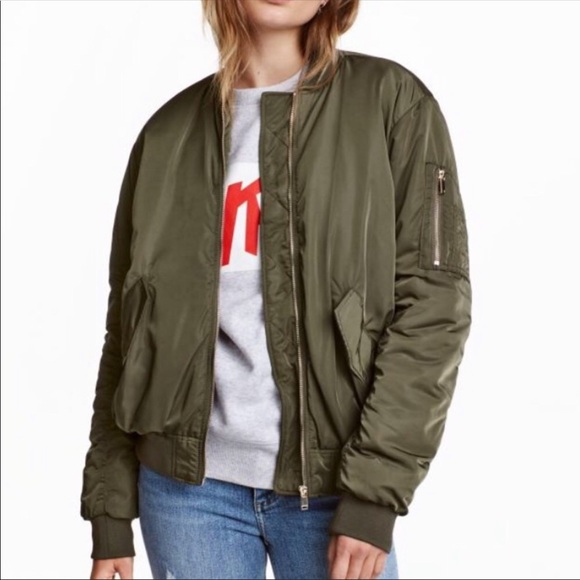 a90157517 H&M Army Green Satin Bomber Jacket